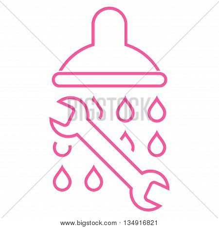 Shower Plumbing glyph icon. Style is outline flat icon symbol, pink color, white background.