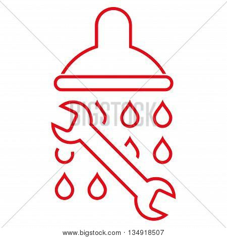 Shower Plumbing glyph icon. Style is stroke flat icon symbol, red color, white background.