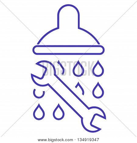 Shower Plumbing glyph icon. Style is outline flat icon symbol, violet color, white background.