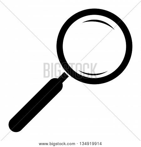 Magnifying glass icon. Magnifier. Hand glass icon. Magnifier silhouette. Isolated. White background