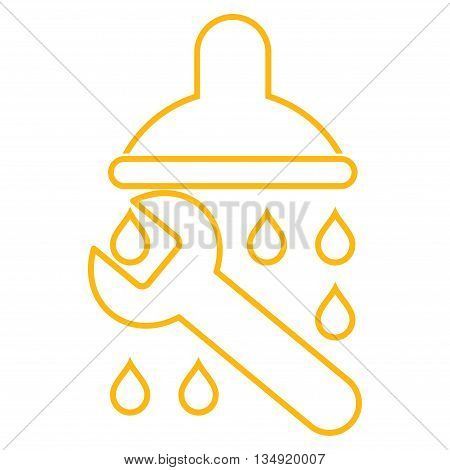 Shower Plumbing glyph icon. Style is linear flat icon symbol, yellow color, white background.