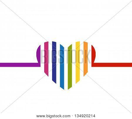 Rainbow colored heart minimalist card. Valentines Day design. Striped heart design. Heart logo. Heart icon. Copy space