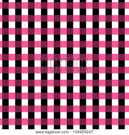 Seamless gingham pattern. Geometric background. Black pink and white stripes. Tartan pattern in swatch