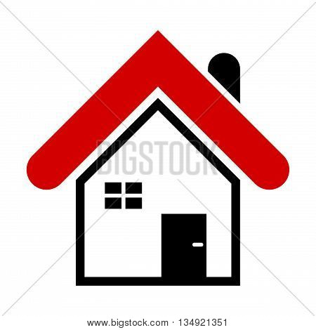 Simple house icon. Modern house design element for web print etc. Isolated on white background