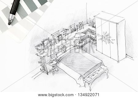 Bedroom Interior Graphical Sketch Drawn By Pen