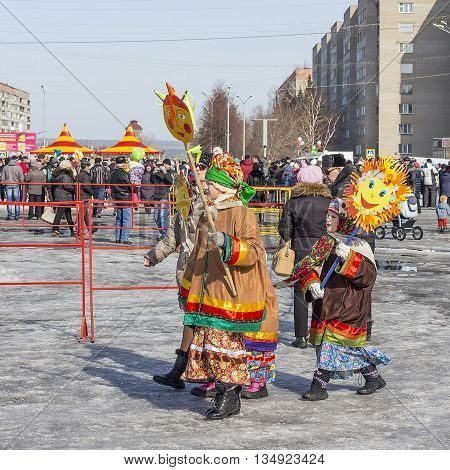 Berdsk Novosibirsk region Siberia Russia - March 13 2016: Russian holiday Maslenitsa