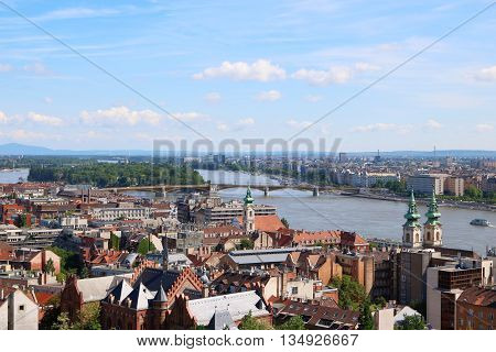 Budapest City View with Margaret Bridge and Margaret Island and Danube River