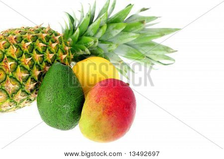 Mix of tropical fruit and vegetable.
