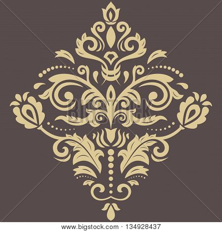 Oriental vector pattern with arabesques and floral elements. Traditional classic ornament. Brown and golden pattern