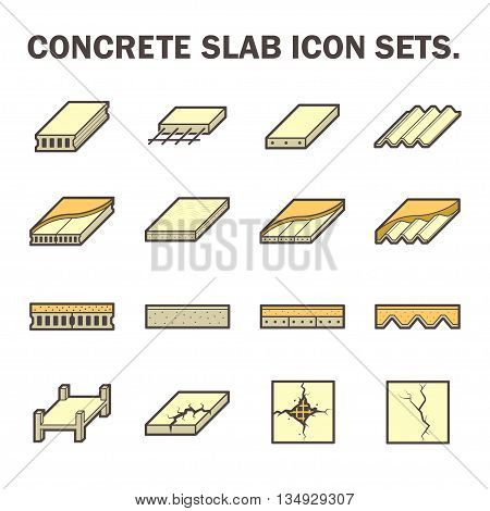 Concrete slab vector icon sets design isolated on white background.
