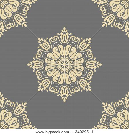 Seamless oriental pattern in the style of baroque. Traditional classic vector ornament. Gray and golden pattern