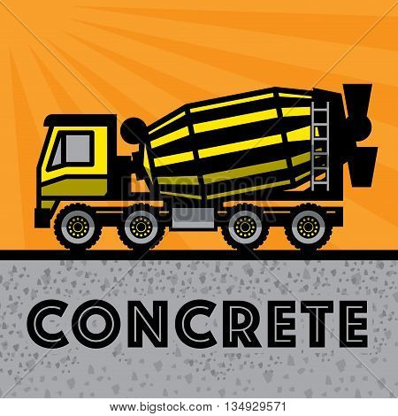 Concrete Mixer Truck on yellow background, vector illustration