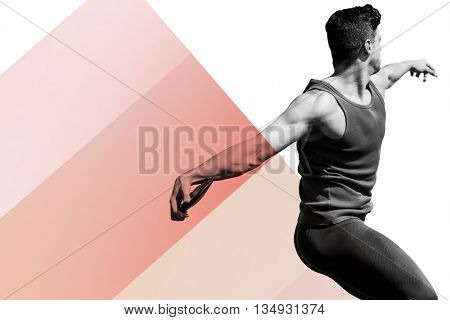 Side view of man throwing discus against colored background