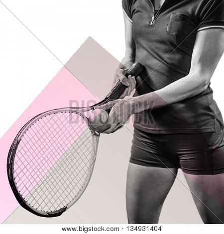 Tennis player holding a racquet ready to serve against different colors