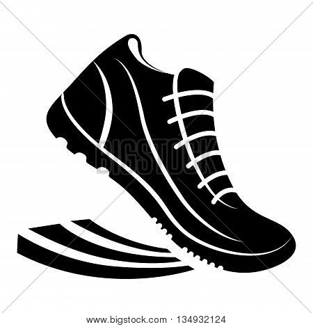 Running represented by running shoes figure design over isolated and flat illustration
