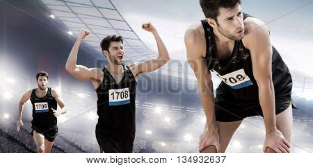 Athletic man resting with hands on knees against sports arena