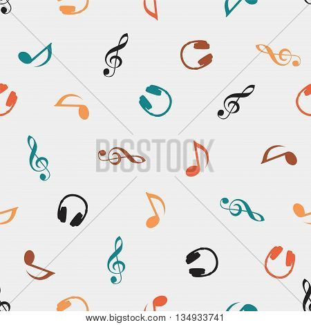 Seamless vector musical pattern - Quaver Notes headphones treble clef