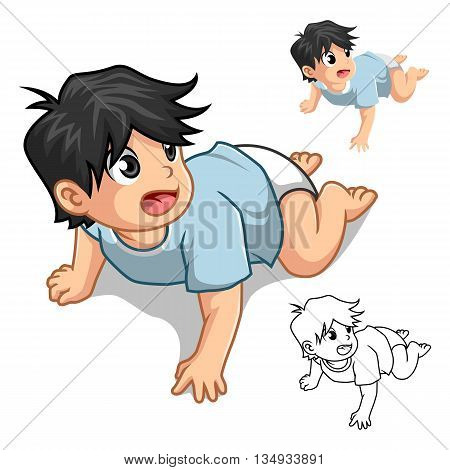Baby Crawling Cartoon Character Include Flat Design and Outline Version Vector Illustration