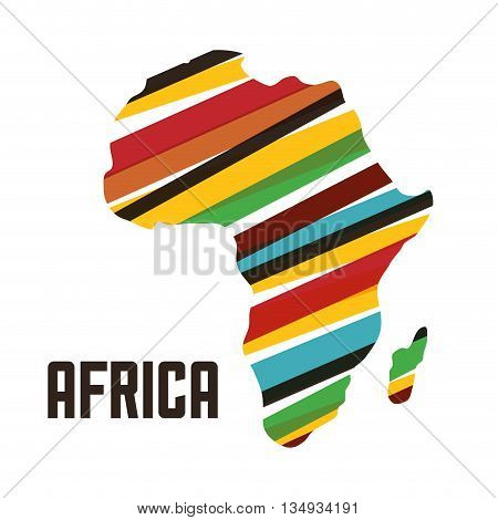 Africa represented by his own map design over isolated and flat illustration
