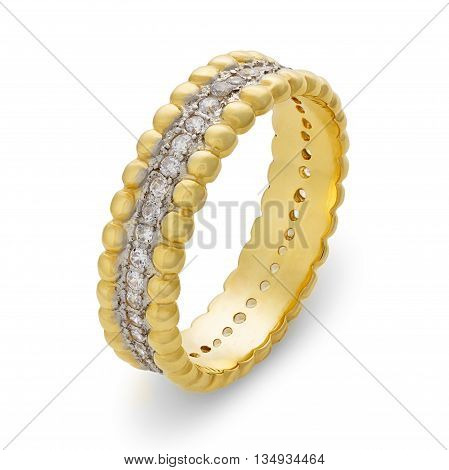 Close-up Of Single Golden Bracelet With Diamonds