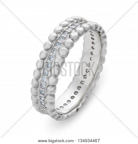 Close-up On Single Silver Bracelet With Diamonds