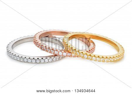 Close-up On Three Bracelets Made Of Different Shades Of Gold