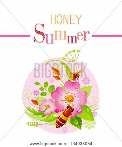 Summer icon with nature elements - wild rose flower, green grass, leafs, bees on pink background