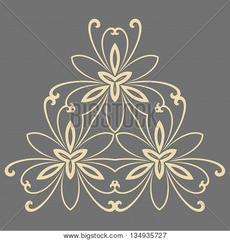 Floral vector pattern with fine arabesques. Abstract oriental ornament. Gray and giolden pattern