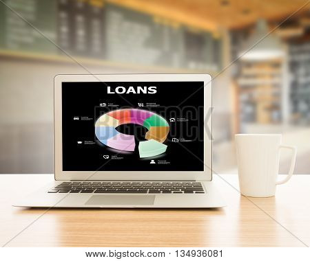 Infographics circle loan on laptop screen. The concept of a loan.