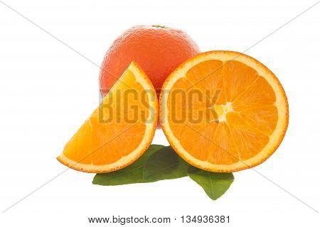 Fresh oranges and orange slices isolated on white background.