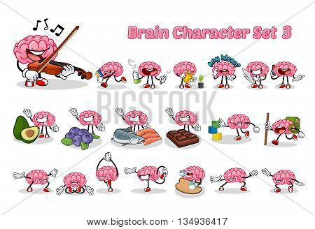 Set of Brain Cartoon Character Three Vector Illustration