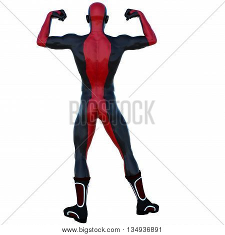 a young strong man in a red and black super suit. Posing showing his muscles. 3D rendering, 3D illustration