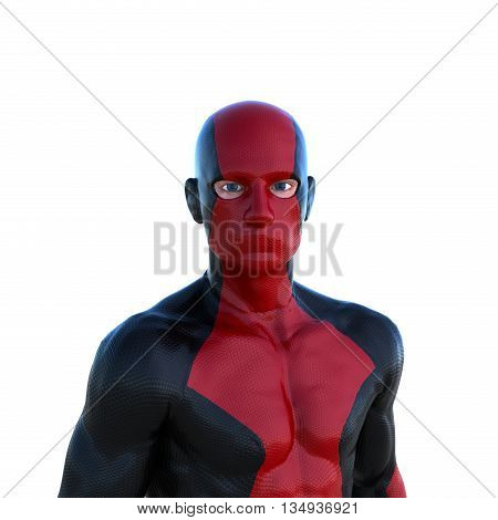 young strong man in a red and black super suit. Standing close in front of the camera. 3D rendering, 3D illustration