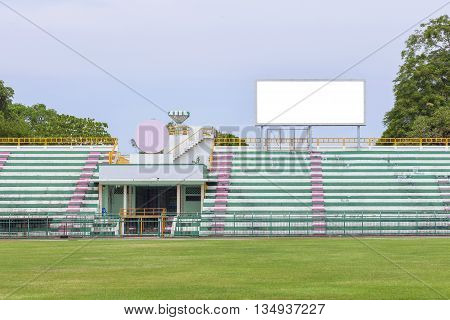 Empty white digital billboard screen for advertising in sport stadium