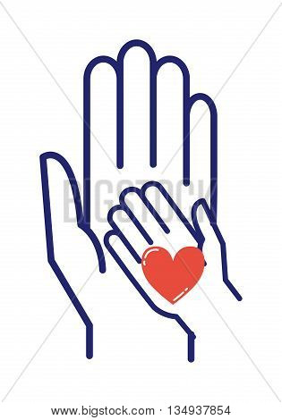 Children caring hand logo vector illustration. Family happy love children care kid hand concept. Together mother and children care hands concept. Woman support young people health logo.