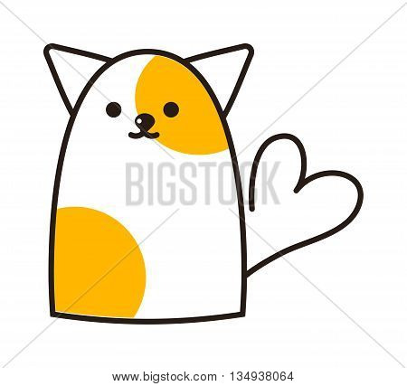 Fashion portrait of cat isolated on white. Vector hand drawn cat and heart illustration. Cat kid character, card feline young domestic sweet happy mammal.