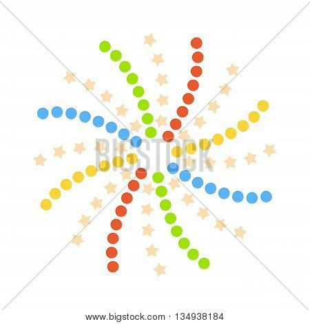 Firework isolated design on white background. Yellow light countdown fire pyrotechnics dots orange firework isolated. Vector firework isolated shiny, celebrate festive anniversary bright light.