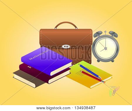 Vector illustration. Schoolbag with school supplies for education
