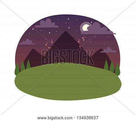Vector mountains and forest landscape in night. Beautiful geometric flat night landscape illustration. Night landscape astronomy way milky idyllic clear green grass. Summer moon space forest mountain.