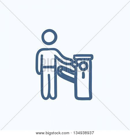 Man at car barrier vector sketch icon isolated on background. Hand drawn Man at car barrier icon. Man at car barrier sketch icon for infographic, website or app.