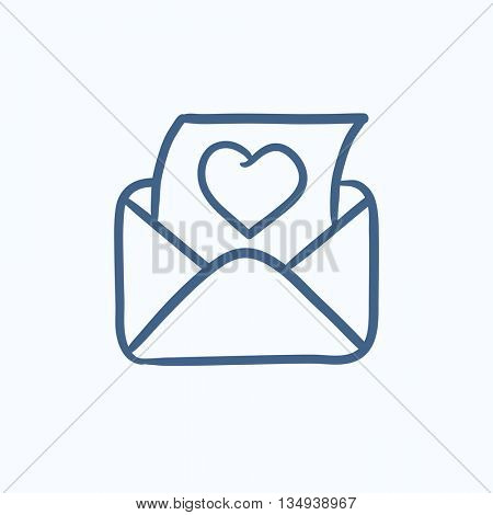 Open envelope with heart vector sketch icon isolated on background. Hand drawn Open envelope with heart icon. Open envelope with heart sketch icon for infographic, website or app.