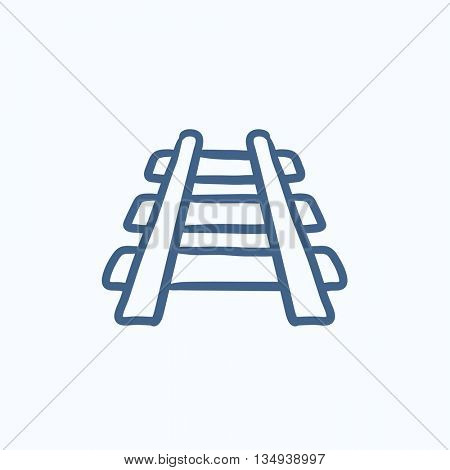 Railway track vector sketch icon isolated on background. Hand drawn Railway track icon. Railway track sketch icon for infographic, website or app.