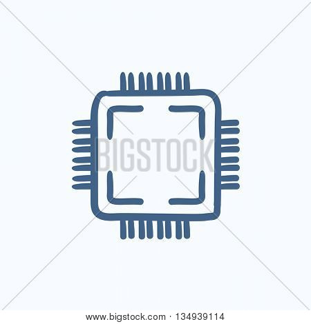 CPU vector sketch icon isolated on background. Hand drawn CPU icon. CPU sketch icon for infographic, website or app.