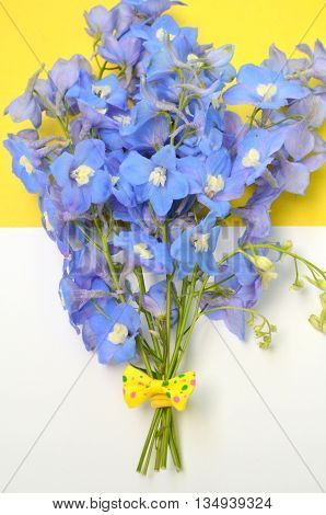 Bouquet with delphinium blue and yellow ribbon