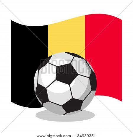 Football or soccer ball with belgian flag on white background. Cartoon ball. Concept of championship, league, team sport. Game for kids and adults. Cheering and sport fans concept.