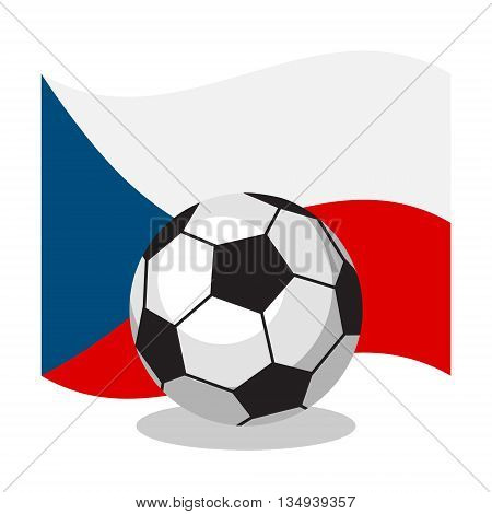 Football or soccer ball with czech flag on white background. Cartoon ball. Concept of championship, league, team sport. Game for kids and adults. Cheering and sport fans concept.