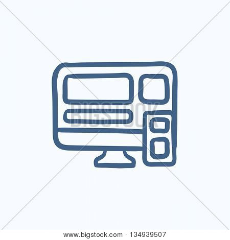 Responsive web design vector sketch icon isolated on background. Hand drawn Responsive web design icon. Responsive web design sketch icon for infographic, website or app.