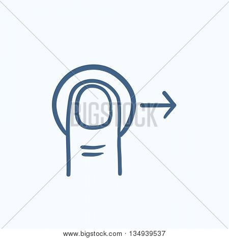 Drag right touch screen gesture vector sketch icon isolated on background. Hand drawn drag right touch screen gesture icon. Drag right touch screen gesture sketch icon for infographic, website or app.