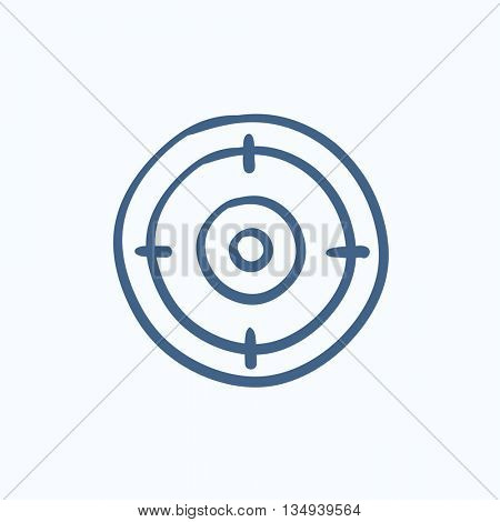 Target board vector sketch icon isolated on background. Hand drawn Target board icon. Target board sketch icon for infographic, website or app.