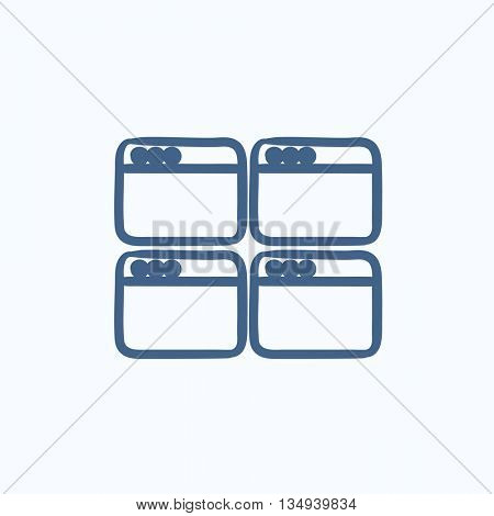Opened browser windows vector sketch icon isolated on background. Hand drawn Opened browser windows icon. Opened browser windows sketch icon for infographic, website or app.
